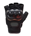 Padded Black Fingerless Motorcycle Racing Gloves