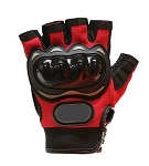 Padded Red Fingerless Motorcycle Racing Gloves